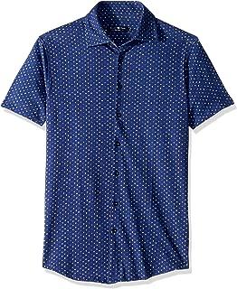 Men's Cotton Knit Geometric Print Short Sleeve Shirt