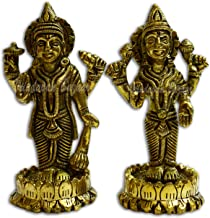 VRINDAVANBAZAAR.COM Lord Bhagwan Vishnu and Laxmi Statue Made of Solid Brass Metal Elegant Narayan Standing Murti for Home...
