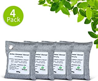 Willow Source Air Purifying Bags - All Natural - 200g Moso Bamboo Activated Charcoal Deodorizer - Unscented Air Freshener, Odor Eliminator, Car Air Freshener, Absorbs Moisture (4)