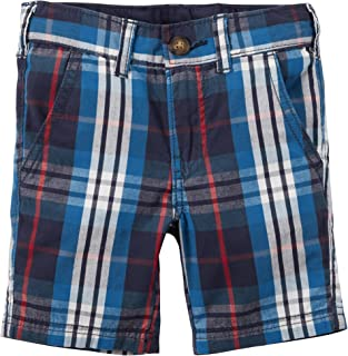 Carter's Baby Boys' Blue Plaid Flat Front Button Shorts