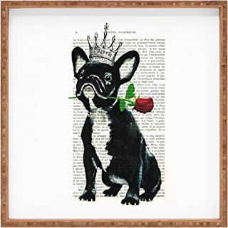 Deny Designs Coco de Paris Frenchie with Flower Indoor/Outdoor Square Tray, Medium/12 x 12