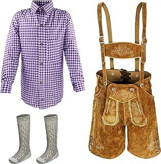 Kiddy Tracht Juego de 3 Pantalones Cortos de Piel para niños, Traje Tradicional, Camisa para niño, Tallas 104, 116, 128, 1...