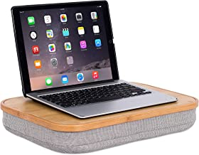 BirdRock Home Bamboo Lap Desk with Laptop Storage Compartment - Pillow Cushioned Laptop Accessories Book Stand - Great for Bed Couch Table Sofa Chair - Food Serving Tray - Grey