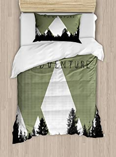 Ambesonne Adventure Duvet Cover Set, Forest with Halftone Effect Hipster Typography Camping in Mountains, Decorative 2 Piece Bedding Set with 1 Pillow Sham, Twin Size, Army Green