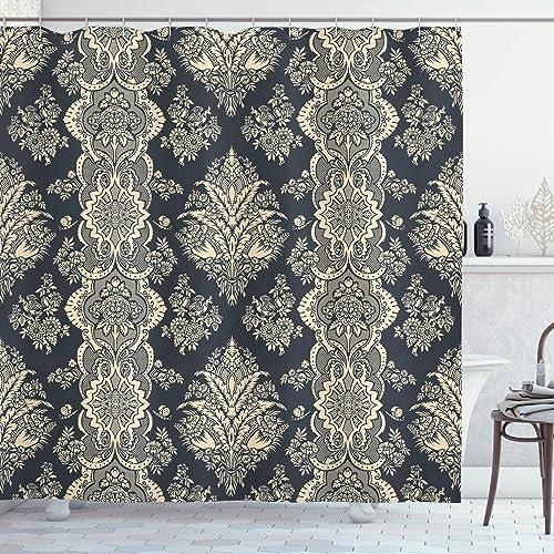 ABAKUHAUS Damassé Rideau de Douche, Style Victorien Baroque, Tissu Ensemble de Décor de Salle de Bain avec Crochets, ...