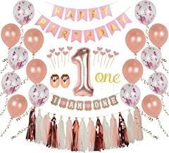 """Ellia First Birthday Girl Decorations, 1st Smash Cake Fun Party Set, Rose Gold Pink Decor - """"One"""" Topper, Confetti Balloons, Bday Bunting, """"I am One"""" Banner, Tassels, Ribbon, Heart Sticks"""