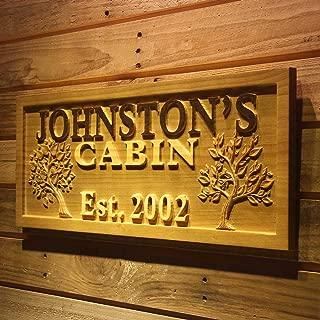 ADVPRO wpa0101 Name Personalized Cabin Big Tree Established Date Wood Engraved Wooden Sign - Standard 23