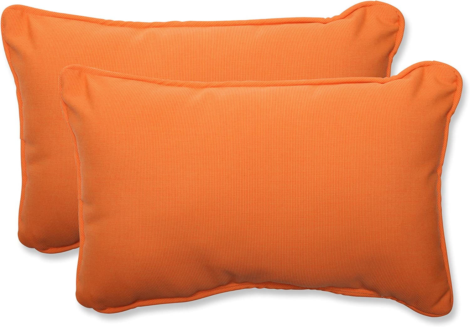 Pillow Perfect Indoor Outdoor Rectangular Throw Pillow (Set of 2) with Sunbrella Canvas Tangerine Fabric, 18.5 in. L X 11.5 in. W X 5 in. D