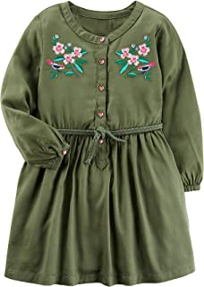 Carter's Girls' 2T-5T Long Sleeve Embroidered Sateen Dress Olive 8