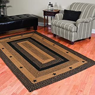 IHF Home Decor Star Black | Braided Area Rug Rectangle Living Room Bedroom Kitchen Porch Dormitory | Accent Durable Floor Carpet | Natural Jute Fiber - 22