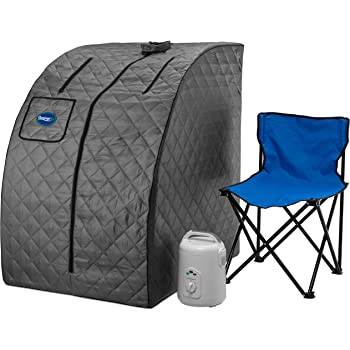 Durasage Lightweight Portable Personal Steam Sauna Spa for Weight Loss, Detox, Relaxation at Home, 60 Minute Timer, 800 Watt Steam Generator, Chair Inlcuded - Gray