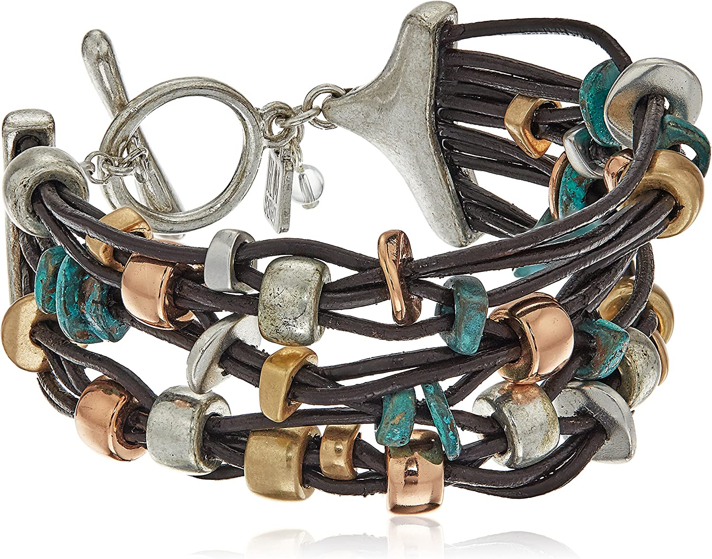 Our shop most popular Robert Lee Morris Femme Max 52% OFF Petal Multi-Row Patina Metal Mixed Bead