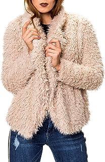 hailys damen kunstfell jacke kapuze 2 pockets rosa