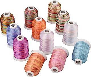 Simthread Multi-Farben Polyester Maschinen Stickgarn - 1,000 Meters, für Brother, Babylock, Bernette, Janome, Kenmore, Singer, W6 N 5000 Stickmaschine und Nähmaschine 12 Faben - MU
