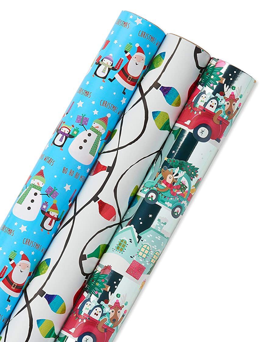 Papyrus Holiday Santa and Lights Wrapping Paper Set, 3-Count bj06791207049650