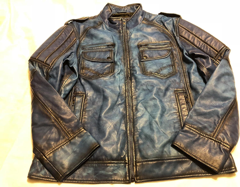 DeCuero Men's Slim Fit Sheep Skin Leather Jacket-Electric Blue