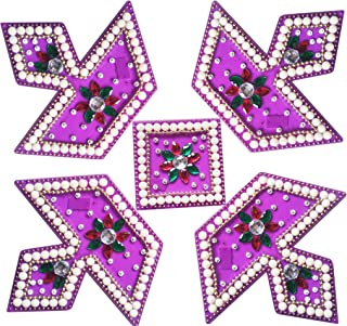 RUCI STORE Diwali Acrylic Rangoli Floor Decorations Acrylic Diya Design Big Size with Studded Stones and Sequins, Traditional Festive Home Décor (Purple)