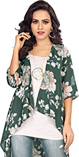 Serein Women's Shrug (Green Floral Print Georgette Shrug/Jacket with 3/4th Sleeve)
