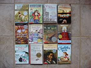 Set of 12 Newbery Medal/Honor Books (Ramona and Her Father, Kneeknock Rise, Hoot, Princess Academy, Sarah Plain and Tall, Charlotte's Web, Philip Hall Likes Me, Tale of Despereaux, Family Under the Bridge, From the Mixed-Up Files, Because of Winn-Dixie, Afternoon of the Elves)