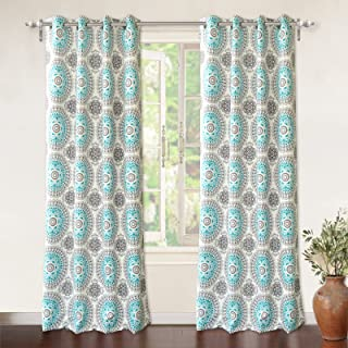 DriftAway Bella Medallion and Floral Pattern Room Darkening and Thermal Insulated Grommet Window Curtains 2 Panels Each 52 Inch by 84 Inch Aqua and Gray