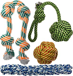XL Dog Rope Toys for Aggressive Chewers - 4 Nearly Indestructible Chewing Ropes - Durable Heavy Duty Dog Toys - Large Dog Toys - Tough Dog Chew Toys Set - Tug of War Dog Toys for Big Breed