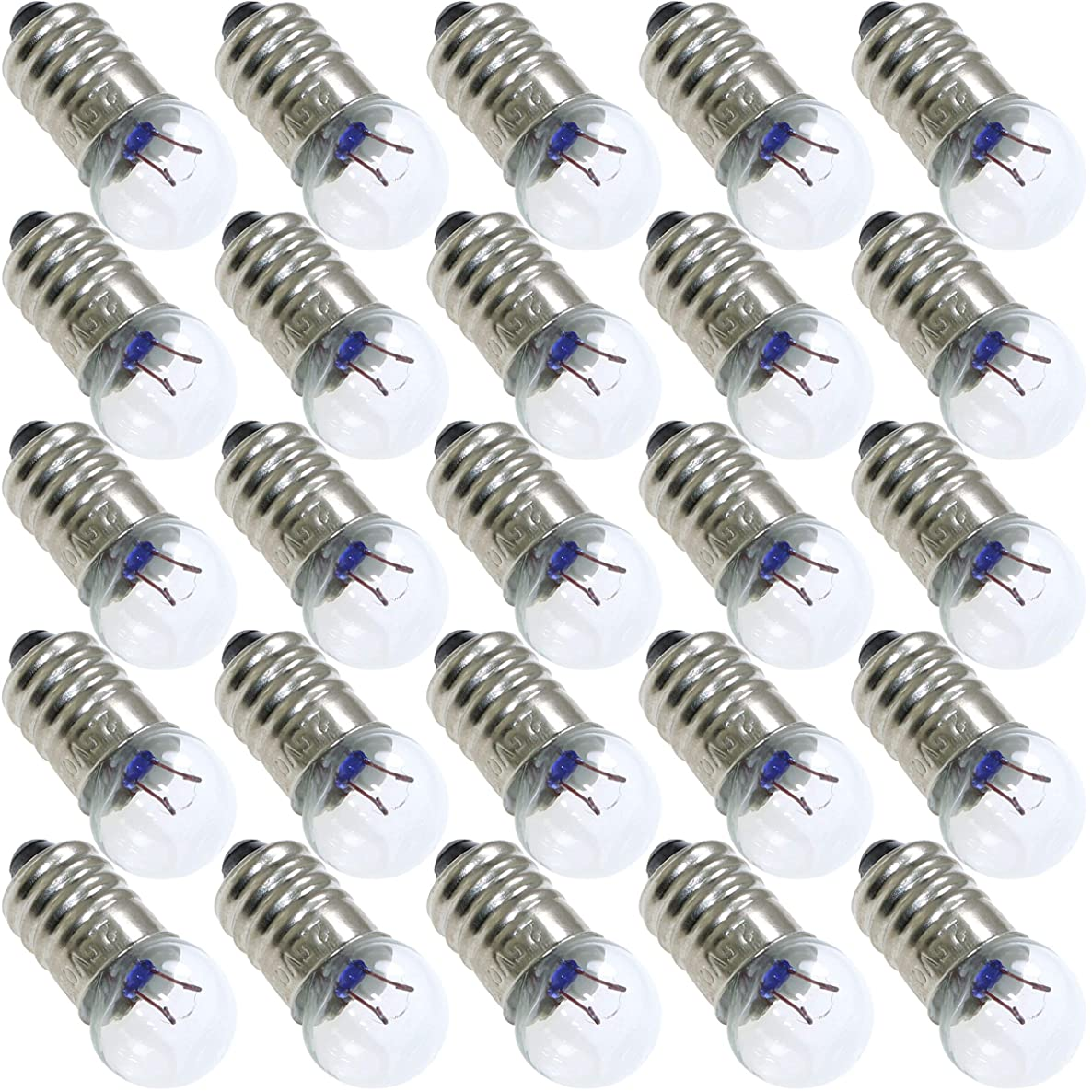 ToToT 25pcs E10 Mini Light Bulbs 2.5V 0.3A Physical Electrical Experiment Screw Base Indicator Light Incandescent Bulb Old-Fashioned Flashlight Lamp