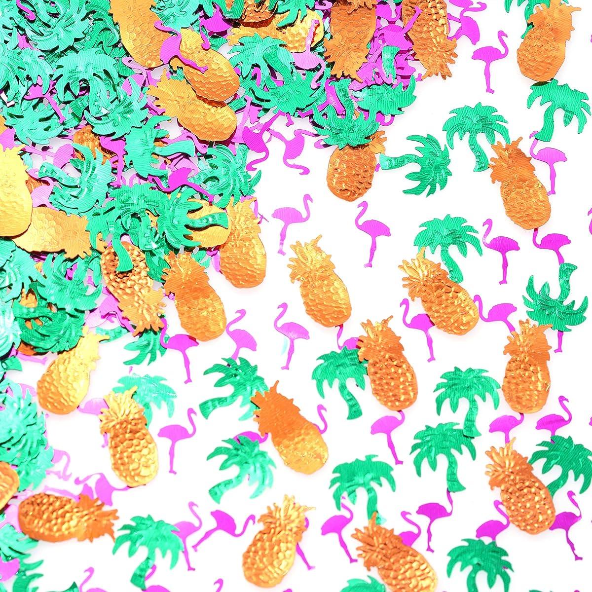 Summer Hawaiian Flamingo Party Confetti - Foil Metallic Sequins Table Confetti Tropical Jungle Safari 1st Birthday Baby Shower Wedding Party Sprinkles Confetti Decorations, 60g