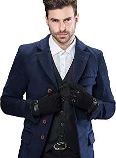 Men's Touchscreen Lambskin Suede Leather Gloves Three Points and Belt