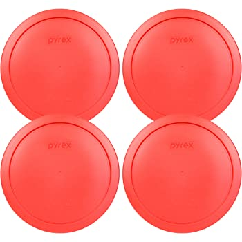 """Pyrex 7402-PC Red Round Storage Replacement Lid Cover fits 6 & 7 Cup 7"""" Dia. Round (4-Pack)"""