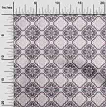 oneOone Velvet Light Pink Fabric Floral & Tiles Moroccan Fabric for Sewing Printed Craft Fabric by The Yard 58 Inch Wide