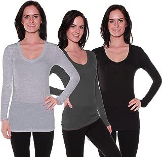 ACTIVE BASIC Womens Long Sleeve V-Neck T Shirts Value Pack
