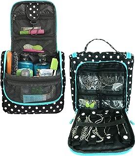 WAYFARER SUPPLY Hanging Toiletry Bag: Pack-it-flat Travel Kit, Black (black & white polkadot w jewelry)