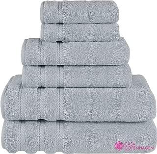 CASA COPENHAGEN Denmark Soft Linen Premium, 6 Piece Kitchen and Bathroom Egyptian Cotton Towel Set, [Worth $72.95] -