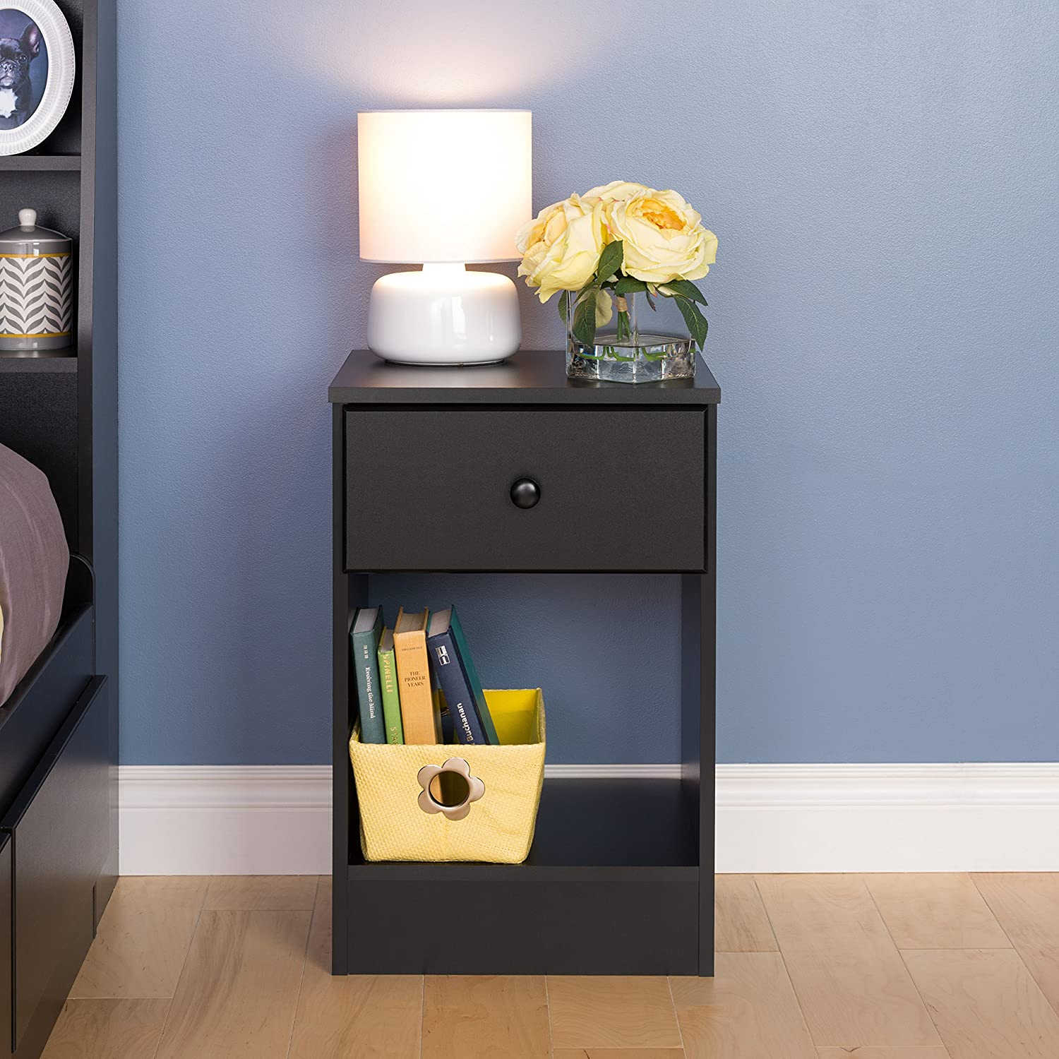 Prepac Astrid Tall 1-Drawer Night Stand, Black