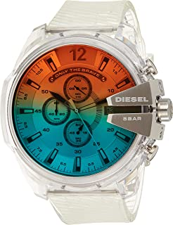 Diesel Mega Chief Men's Silver Dial PU Leather Analog Watch - DZ4515