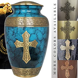 Love of Christ - Burial Or Funeral Adult Cremation Urn for Human Ashes - 100% Brass - Extra Large, Large and Small Keepsake (Large, Mediterranean Blue)