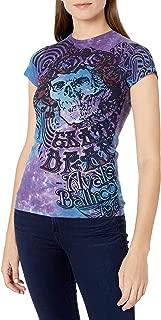 Liquid Blue Women's Grateful Dead Bertha Baby Blue Juniors Tie Dye Graphic Tee