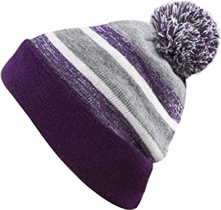 b97ca25630c THE HAT DEPOT Toddler Kids Winter Warm Pompom Stretchy Knit Beanie Stripe  Cap Hat