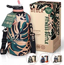 BEOLA 2.2L Half Gallon Water Bottle with STRAW LID and Cooling Sleeve, Tritan BPA Free Large Fitness Sport Bottle Jag with...