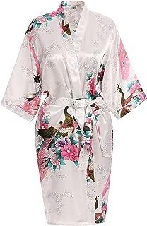 Elegant Short Sleeve Printing Peacock Silk Women's Kimono Robe for Parties Wedding Bridal and Bridesmaid