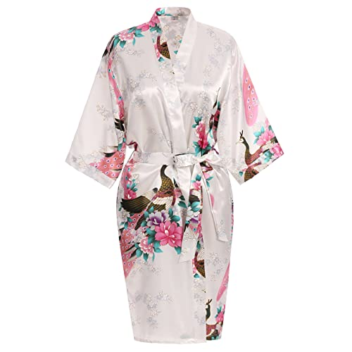 USDisc t Elegant Short Sleeve Printing Peacock Silk Women s Kimono Robe for  Parties Wedding Bridal 18d162dc8