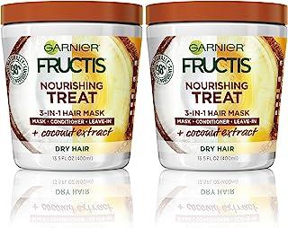 Garnier Fructis Nourishing Nourishing 1 ماسک مویی دقیقه ای با عصاره نارگیل مرطوب کننده 13.5 مایعات مایعات (بسته بندی ممکن است متفاوت باشد) بسته 2