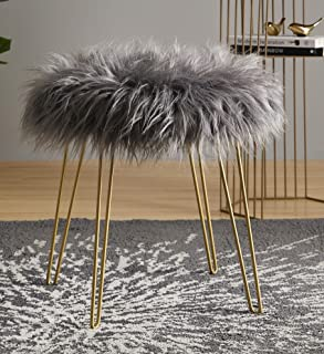 Ornavo Home Modern Contemporary Faux Fur Round Ottoman Foot Rest Stool/Seat with Gold Metal Legs - 17