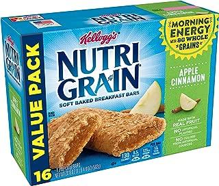Kellogg's Nutri-Grain, Soft Baked Breakfast Bars, Apple Cinnamon, Made with Whole Grain, Value Pack, 20.8 oz (16 Count)
