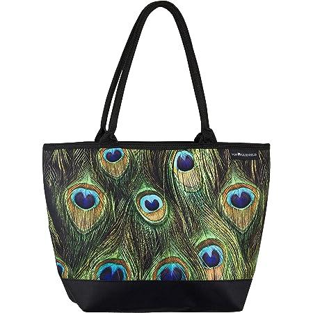 VON LILIENFELD Handtasche Damen Motiv Pfau Shopper Maße L42 x H30 x T15 cm Strandtasche Henkeltasche Büro