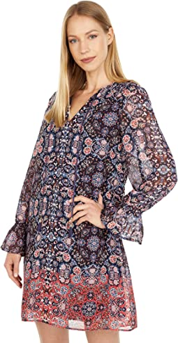 Printed Chiffon Float with Smocked Shoulders and Tassel Tie Front