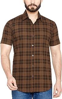 True United Men's Checkered Brown Half Sleeve Casual Shirt