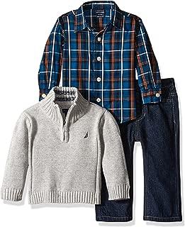 Nautica Boys' 3-Piece Sweater, Pants, and Button-Down Shirt Set