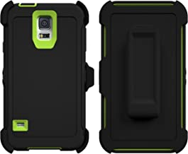 Galaxy S5 Case, Caseologist [Armor Series] [Shock Proof] [Black | Lime] for Samsung Galaxy S5 Case [Built in Screen Protector] [with Holster & Belt Clip] [Fits OtterBox Defender Series Belt Clip]
