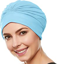 Beemo Women's Swim Bathing Cap Turban Polyester Latex Lined Pleated for Ladies